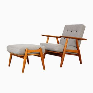 GE240 Cigar Armchair & GE240S Pouf by Hans Wegner for Getama, 1950s