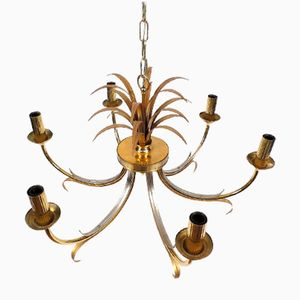 Lámpara de araña en forma de piña de latón y metal cromado, años 60