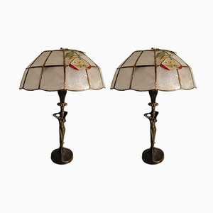 Art Deco Bronze Table Lamps, Set of 2
