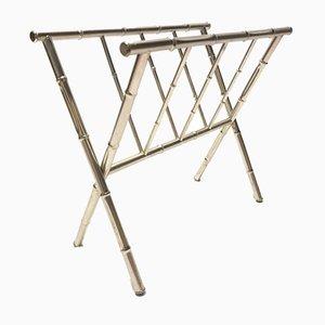 Portariviste in metallo cromato a forma di bambù, anni '70