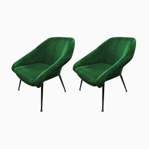Green Velvet Cocktail Chairs, 1965, Set of 2