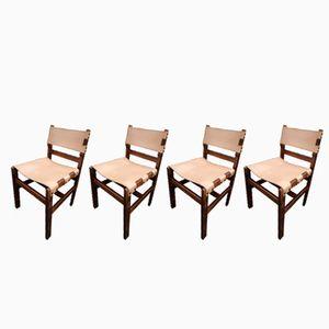 Esszimmerstühle aus Leder und Holz, 1970er, 4er Set