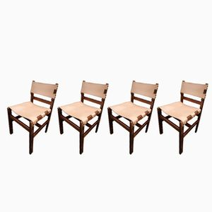 Leather and Wood Dining Chairs, 1970s, Set of 4