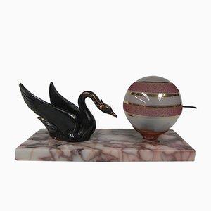 Lámpara de mesa Art Déco de vidrio y mármol, años 30