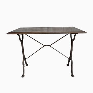 French Oak & Cast Iron Bistro Table, 1930s