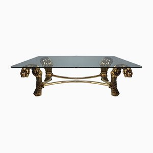 Vintage Brass Hollywood Regency Coffee Table