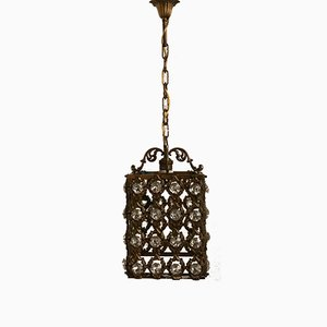 Vintage Bronze Lantern with Crystals