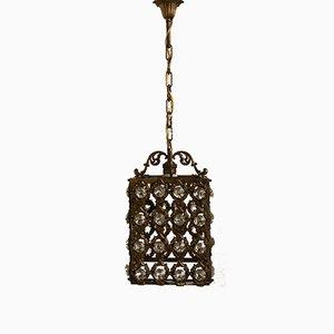 Vintage Laterne aus Bronze mit Kristallglass
