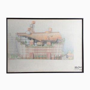 Original architektonische Skizze von The Ark von Alistair Hay, 1989