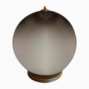 Smoked Glass Sphere Table Lamp from Venini, 1970s