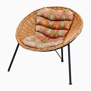 Rattan Tripod Lounge Chair, 1960s