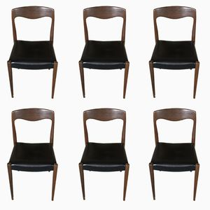 Mid-Century Scandinavian Teak & Black Skai Chairs by Niels Otto Moller, Set of 6