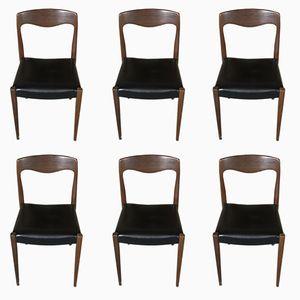 Schwarze skandinavische Mid-Century Stühle aus Skai und Teak von Niels Otto Moller, 6er Set
