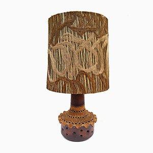 Lampada da tavolo vintage in terracotta con paralume fatto a mano