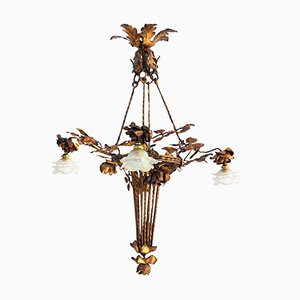 Gilded Iron and Frosted Glass Chandelier, 1910s