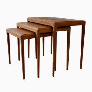 Tavolini ad incastro vintage di Johannes Andersen per Silkebord, Danimarca