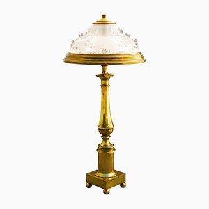 Lampada da tavolo vintage in vetro e ottone