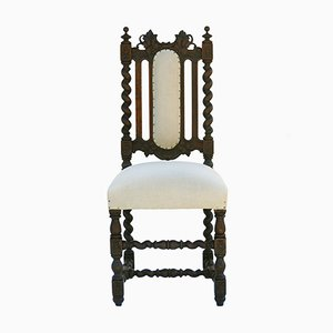 Antique French Carved Oak Side Chair