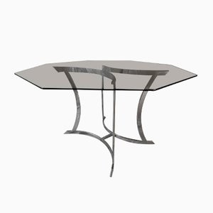 Hexagonal Smoked Glass and Chrome Steel Dining Table, 1970