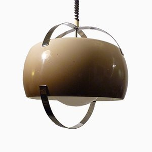 Mid-Century Chrome, Opaline Glass and Acrylic Pendant Lamp