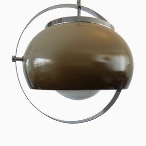 Mid-Century Chrome, Acrylic and Opaline Glass Pendant