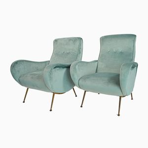 Italian Mint Green Velvet Armchairs, 1950s, Set of 2