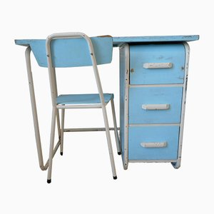 Vintage French Children's Desk and Chair