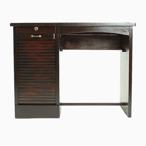 Oak Writing Desk with Roll Cabinet, 1930s