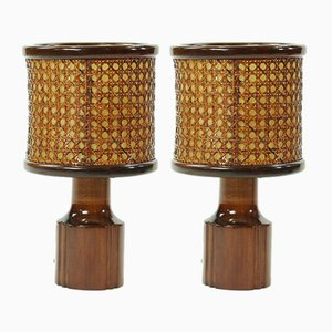 Czech Wood & Wicker Table Lights, 1950s, Set of 2