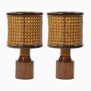 Lámparas de mesa checas de mimbre y madera, años 50. Juego de 2
