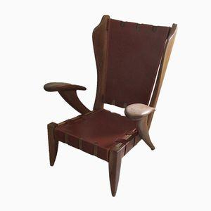 Vintage Leather & Walnut Lounge Armchair
