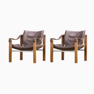 Safari Leather Lounge Chairs by Maurice Burke for Arkana, 1980s, Set of 2