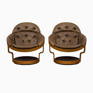 Swivel Lounge Chairs by Oddmund Vad, 1970s, Set of 2