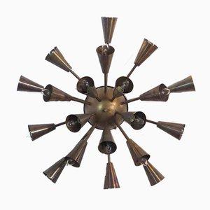 Große italienische Sputnik Deckenlampe aus Messing von Mazzega, 1960er