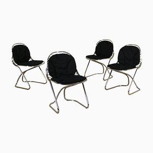 Italian Chromed Metal Chairs, 1970s, Set of 4