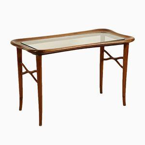 Mesa de centro italiana de vidrio y madera, años 50