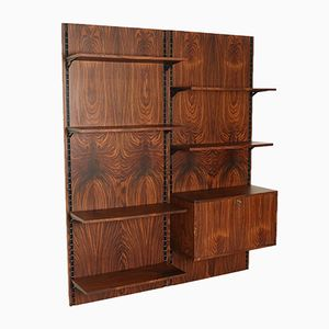 Rosewood Adjustable Wall Bookcase, 1960s
