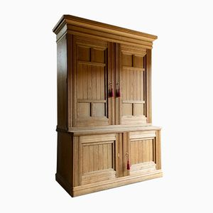 Large Antique Victorian Ash Housekeeper's Cupboard