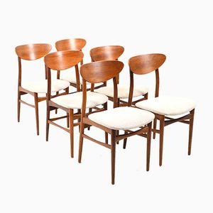 Chaises de Salle à Manger Mid-Century en Teck, Danemark, Set de 6