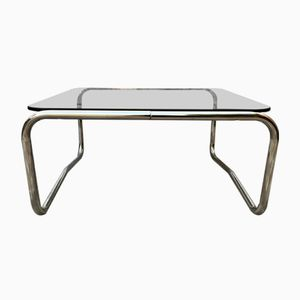 Vintage Glass Chrome Square Coffee Table