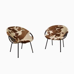Danish Cowhide Balloon Chairs by Hans Olsen, 1960s, Set of 2