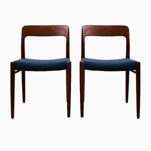 Dänische Mid-Century Stühle aus Teak von Niels Otto Møller für J.L. Møllers, 2er Set