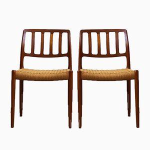 Dänische Mid-Century Modell 82 Stühle aus Teak von Niels Otto Møller für J.L. Møllers, 2er Set
