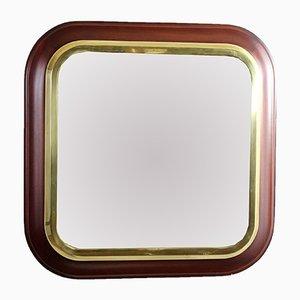 Specchio vintage in mogano e ottone