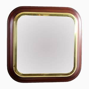 Vintage Spiegel mit Rahmen aus Mahagoni & Messing