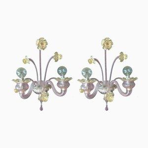 Applique in vetro di Murano di Seguso, anni '50, set di 2
