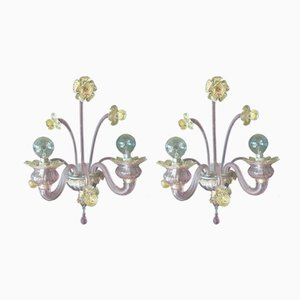 Wandlampen aus Muranoglas von Seguso, 1950er, 2er Set