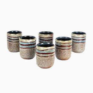 Becher aus Keramik von Accolay, 1960er, 6er Set