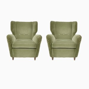 Italian Olive Green Velvet Lounge Chairs, 1950s, Set of 2