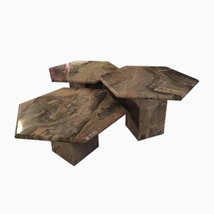 Vintage Marble Coffee Tables, Set of 3